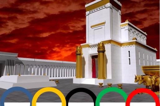 Храм на фоне олимпийских колец